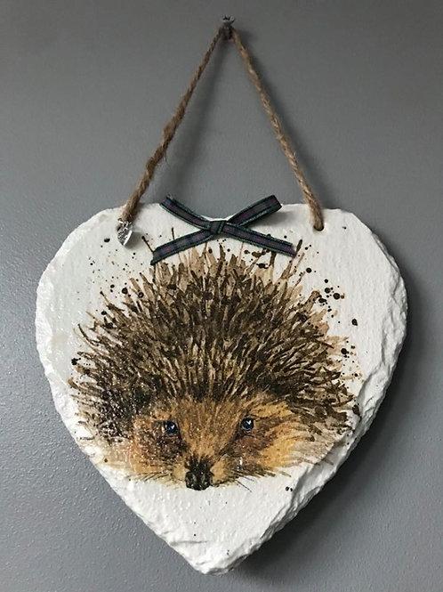 Hedgehog Hanging Slate Heart