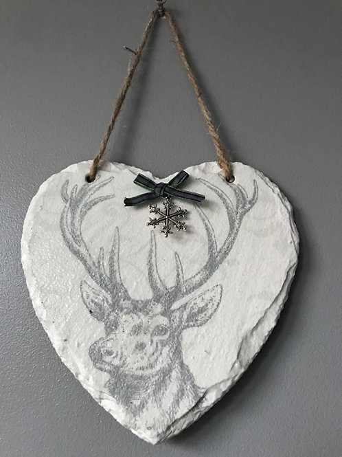 Stag Hanging Slate Heart