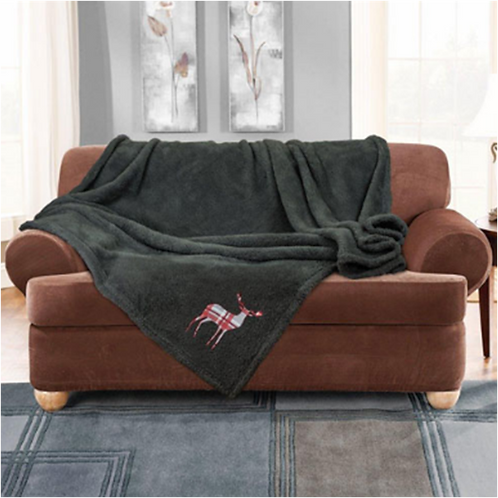 Stag Embroidered Super Soft Teddy Feel Throw Grey