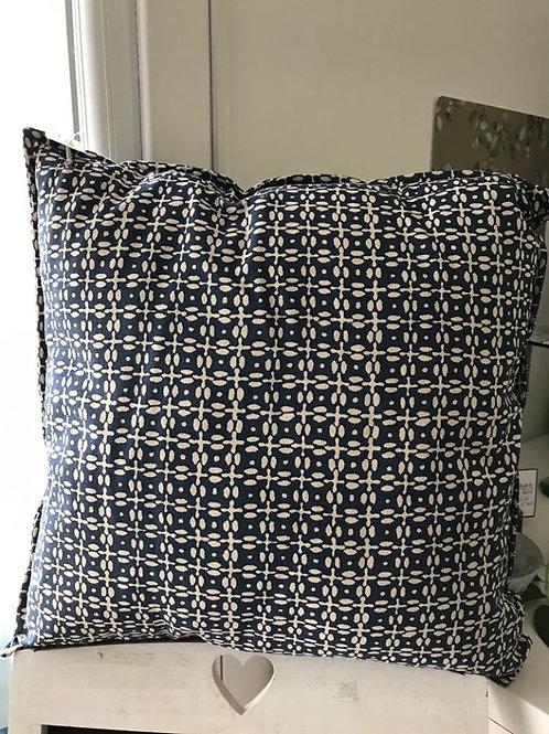 Indigo patterned cushion