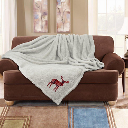 Stag Embroidered Super Soft Teddy Feel Throw Cream