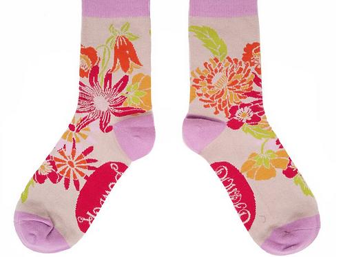 Powder Ladies Ankle Socks Retro Meadow - Cream