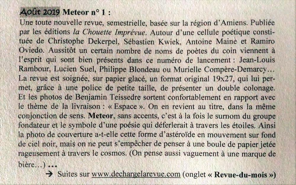 Article de Jacmo (Décharge) sur le numéro 1 de la revue METEOR.