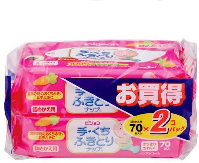 Детские влажные салфетки запасной блок 70*2 шт. PIGEON