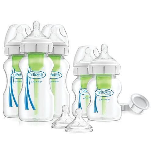Набор из пяти бутылочек Options+ с широким горлышком антиколиковых Dr Brown`s