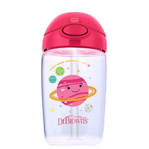 Чашка-поильник 350 мл, с трубочкой, 12+ месяцев, розовая планета Dr Brown`s