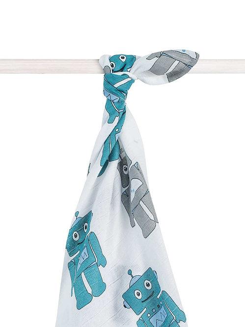 Большая муслиновая пеленка (140х200 см) Robo Teal Jollein