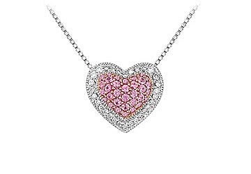 Pink sapphire and diamond heart pendant 14k white gold 075 ct tgw pink sapphire and diamond heart pendant 14k white gold 075 ct tgw aloadofball Image collections