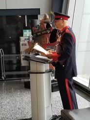 Chaplain Bruce Ewanyshyn reading the Honour Role 2018