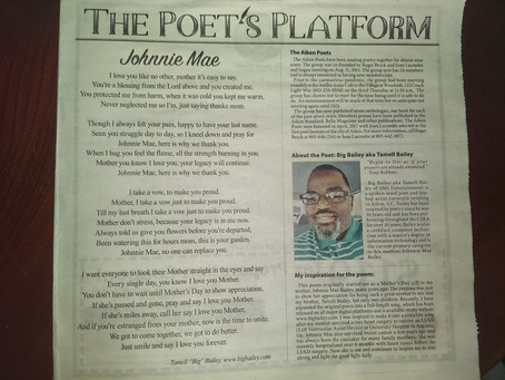 "BiG Bailey's Poem ""Johnnie Mae"" Published by Aiken Standard"
