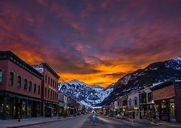 town of Telluride at sunset