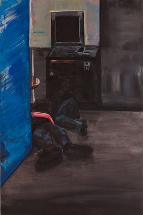 Theresa Berger, im leipziger Bahnhof gibt es keine warmen Aufenthaltsplätze, Malerei