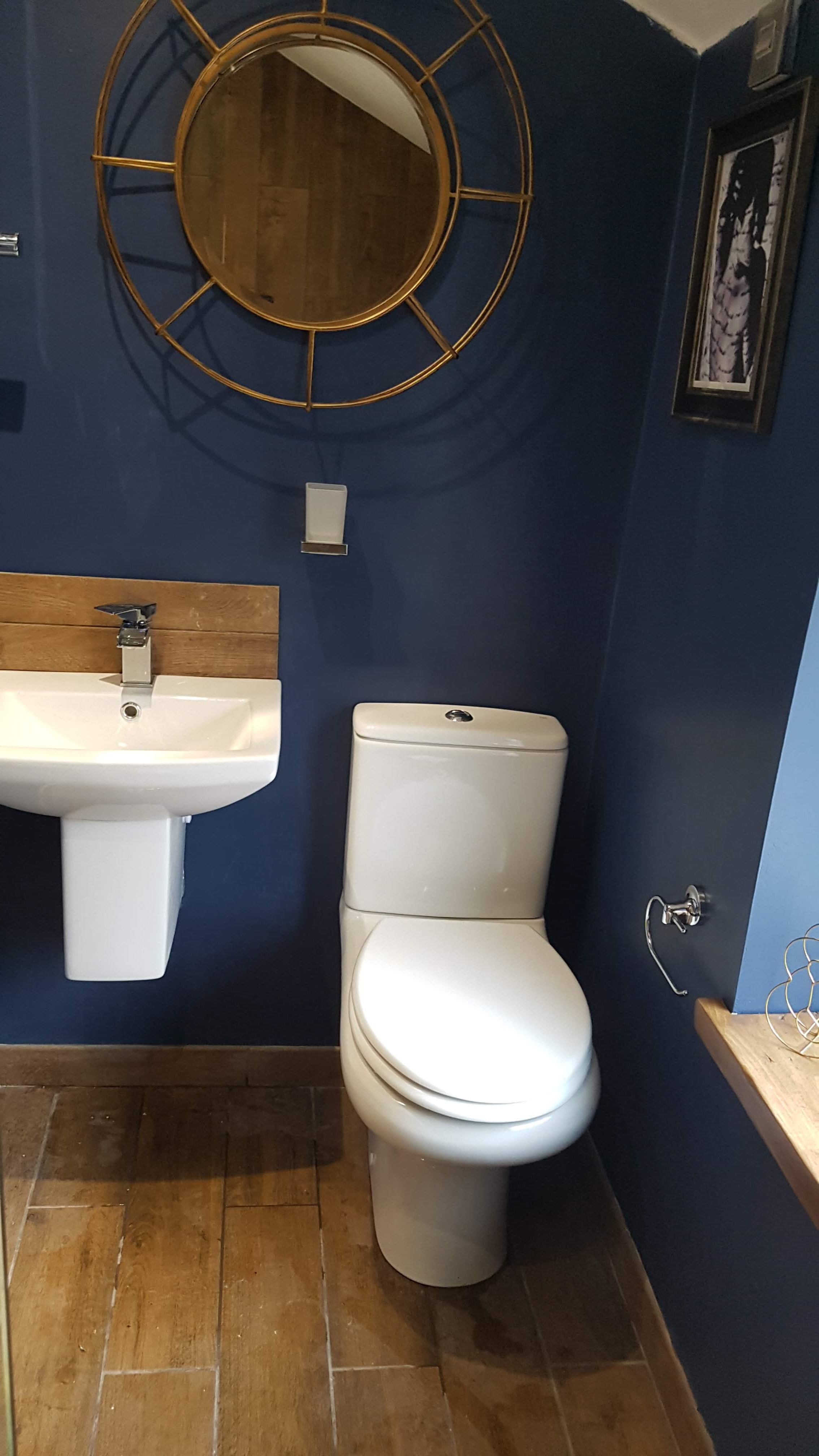 Free standing sink and toilet