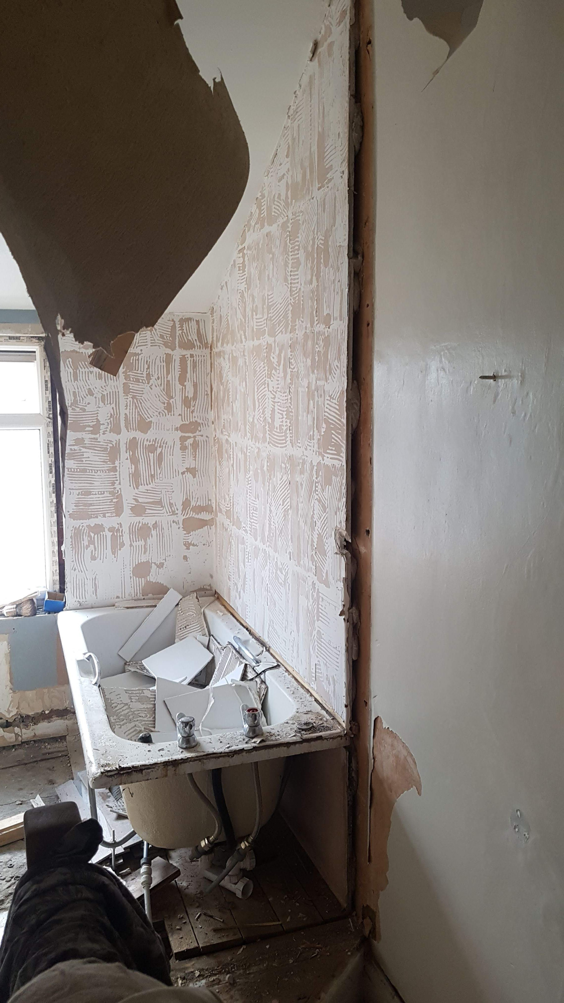 Tiles and wall removed