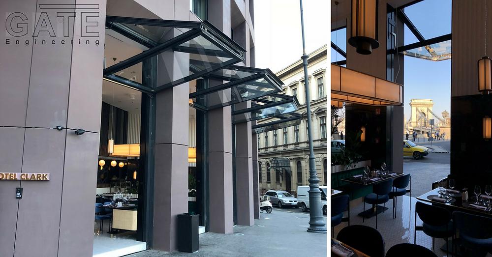 GATE Engineering - Hotel Clark - mozgó üvegportál