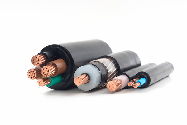 power cables electrical on white backgro