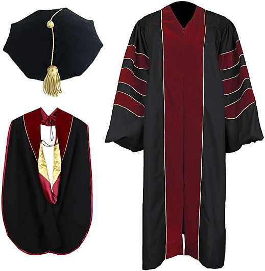 NTS.Graduation.Doctoral Gown.Maroon & Go
