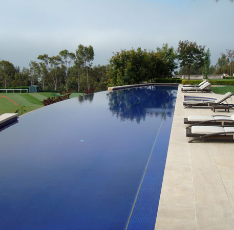 Infinity Pool with Travertine Tile