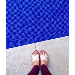 ☀️ #sandals #pool #blue #collegefashionista