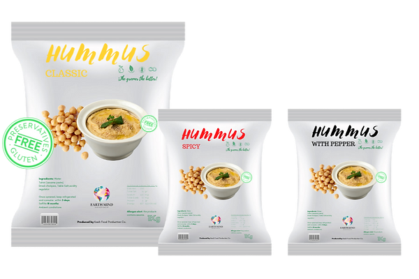hummus, humus, spicy, classic, with pepper, hummus spicy, hummus classic, hummus with pepper, tahini, tahini paste, sesame, chickpea, chickpea paste, gluten free, preservative free, additive free, without colorants, 1kg bag, aseptic bag, 18 months shelf-life, ambient conditions, dry chickpeas,dip sauce,dip, sauce, vegan, green product, green, vegan product