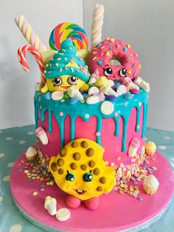 Shopkins themed drip cake