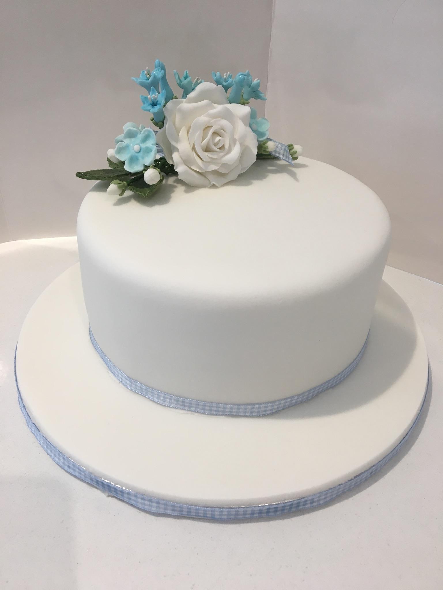 Blue floral birthday cake