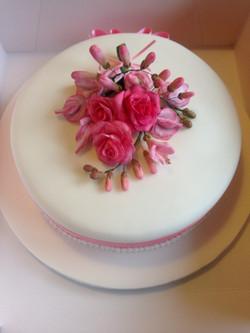 Floral spray birthday cake