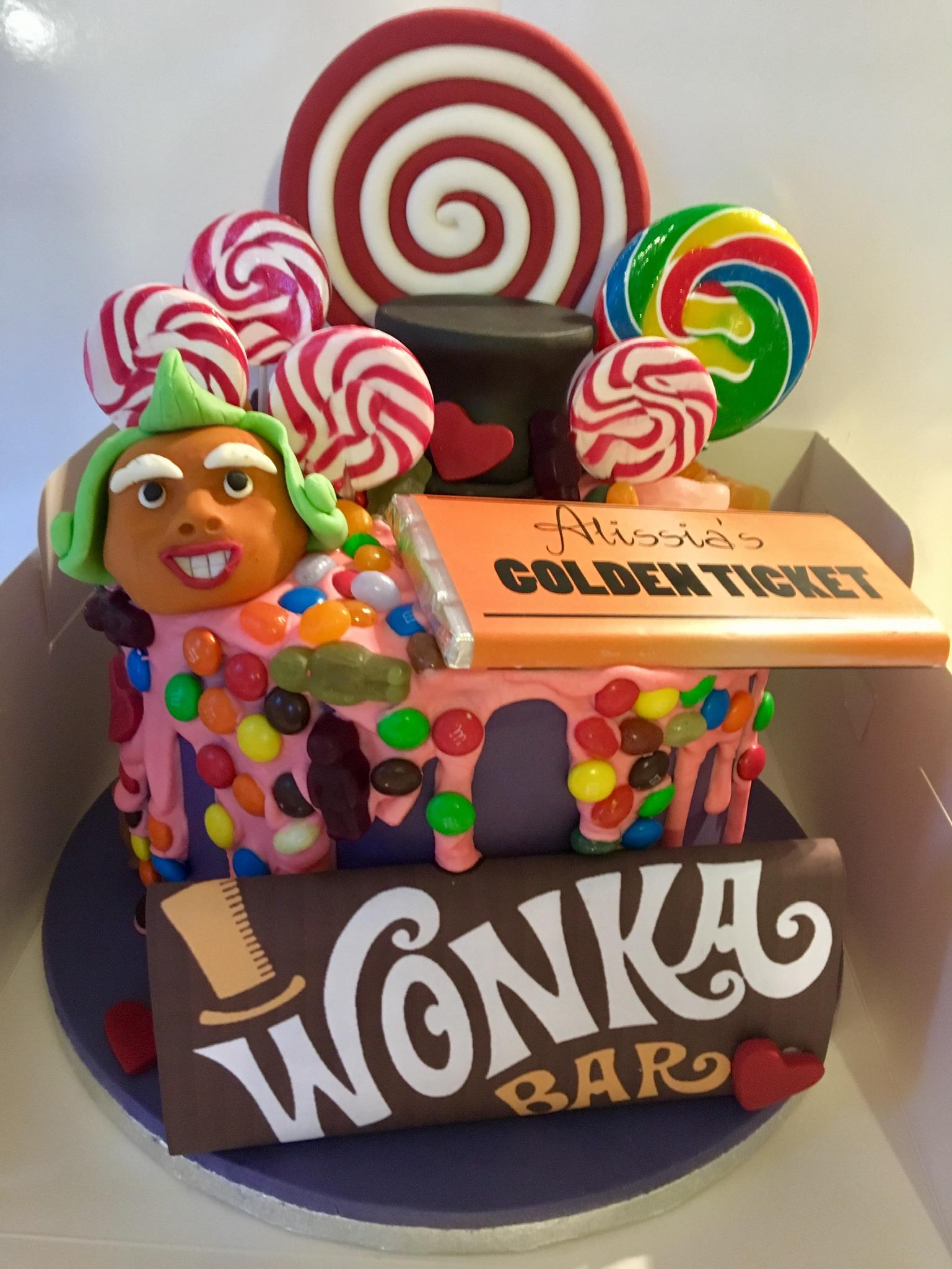 Willy Wonka themed drip cake