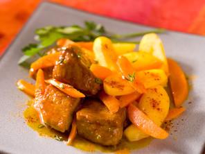 Sauté de veau aux carottes et citron confit