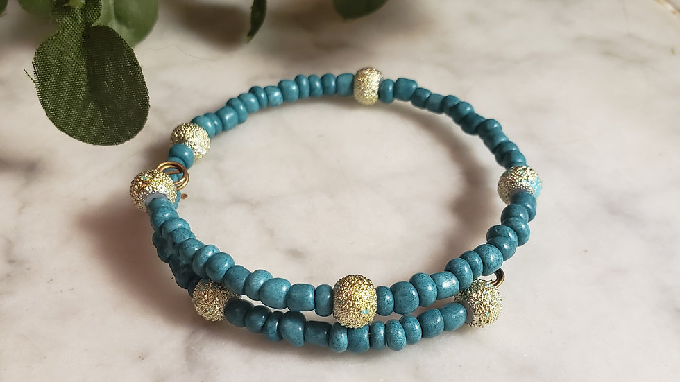 Gold and Teal Bracelet