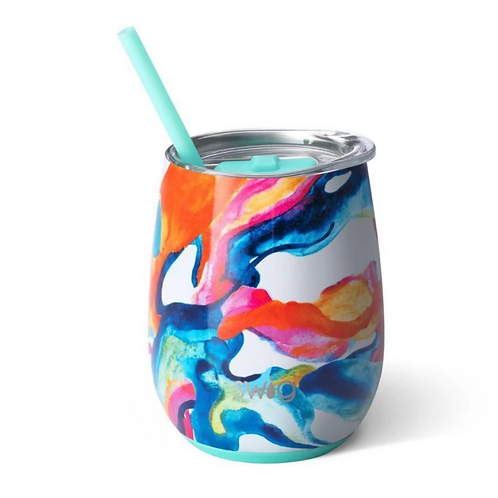 Color Swirl 14oz Stemless Wine Cup