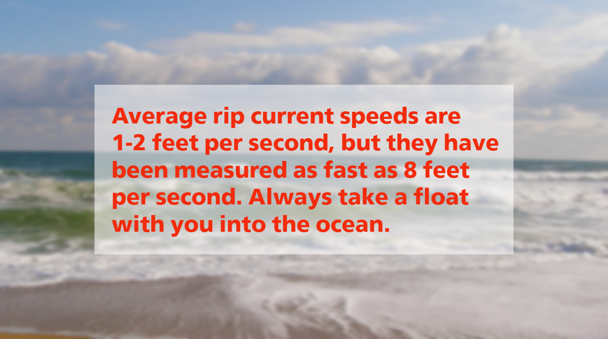 Rip Current Speeds Average 1-2 Feet Per Second