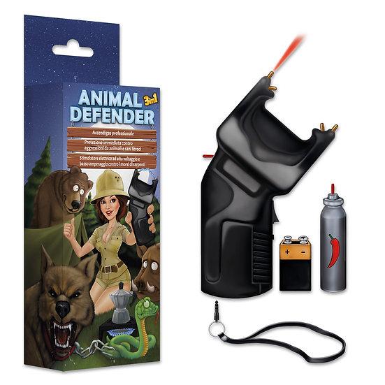ANIMAL DEFENDER 3 in 1 Accendigas + Dissuasore + Spray OC + Stimolatore a norma