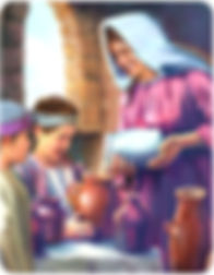 Femmes de la bible la veuve et ses 2 fils Elisée vases