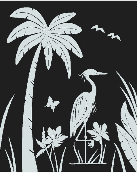 Etched heron decal
