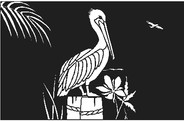 Pelican on piling decal