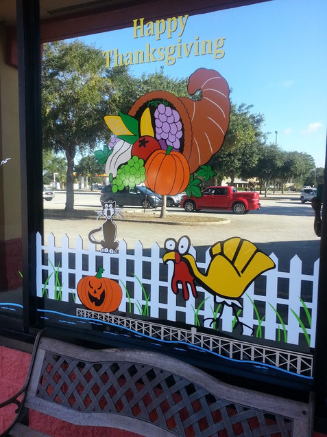 THANKSGIVING WINDOW DECALS SAMMY'S RESTA
