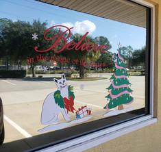 Flagler Cats Christmas Window Decals