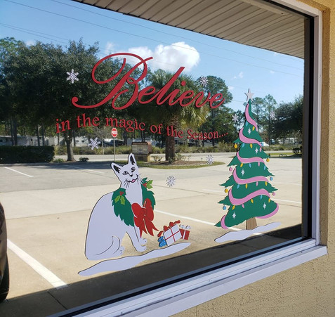 Flagler Cats Christmas Window Decals