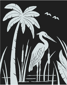 Palm tree & Heron decal