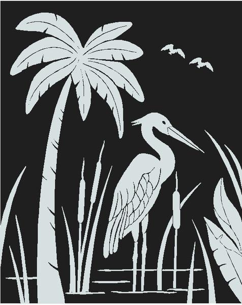 Palm tree & Heron decal
