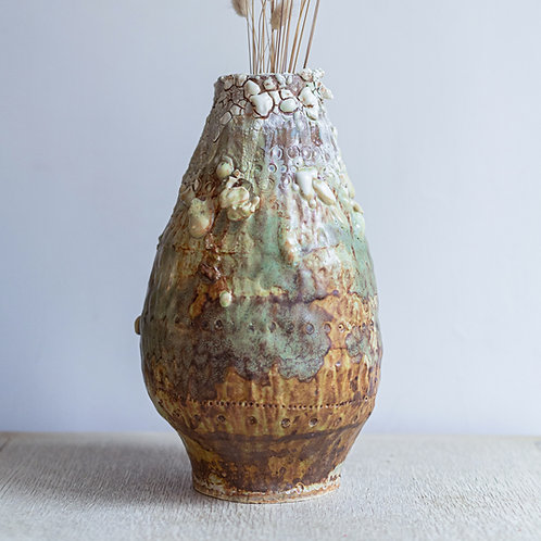Crackled Green Earth Vase