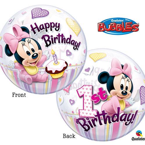 Bubble Balloon Minnie 1st Bday