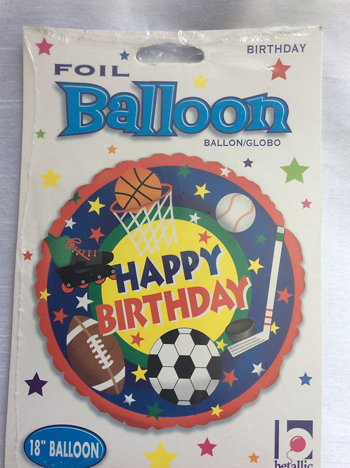 'Sports' Happy Birthday  Mylar Balloon
