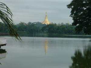 A view of the 2,500 year old Shwedagon Pagoda from Kandawgyi Lake
