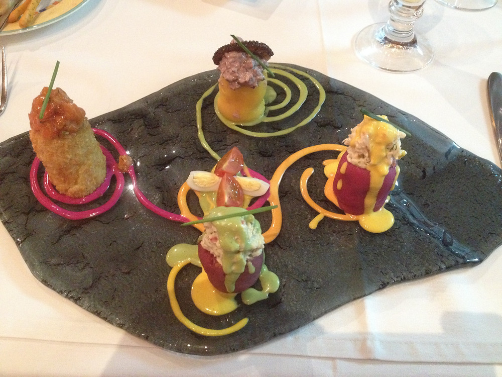 Each Causa appetizer, at Astrid y Gaston in Santiago, Chile had a different seafood - king crab, trout, octopus and Chilean abalone.