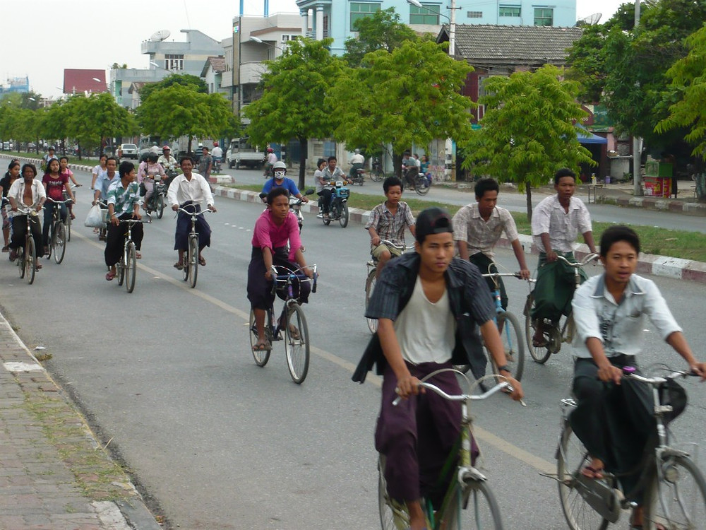 Many of the locals ride bicycles to get around the city