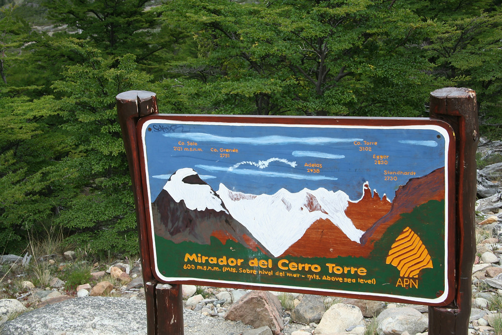 The sign at the Mirador del Cerro Torre shows the various peaks that are in the view