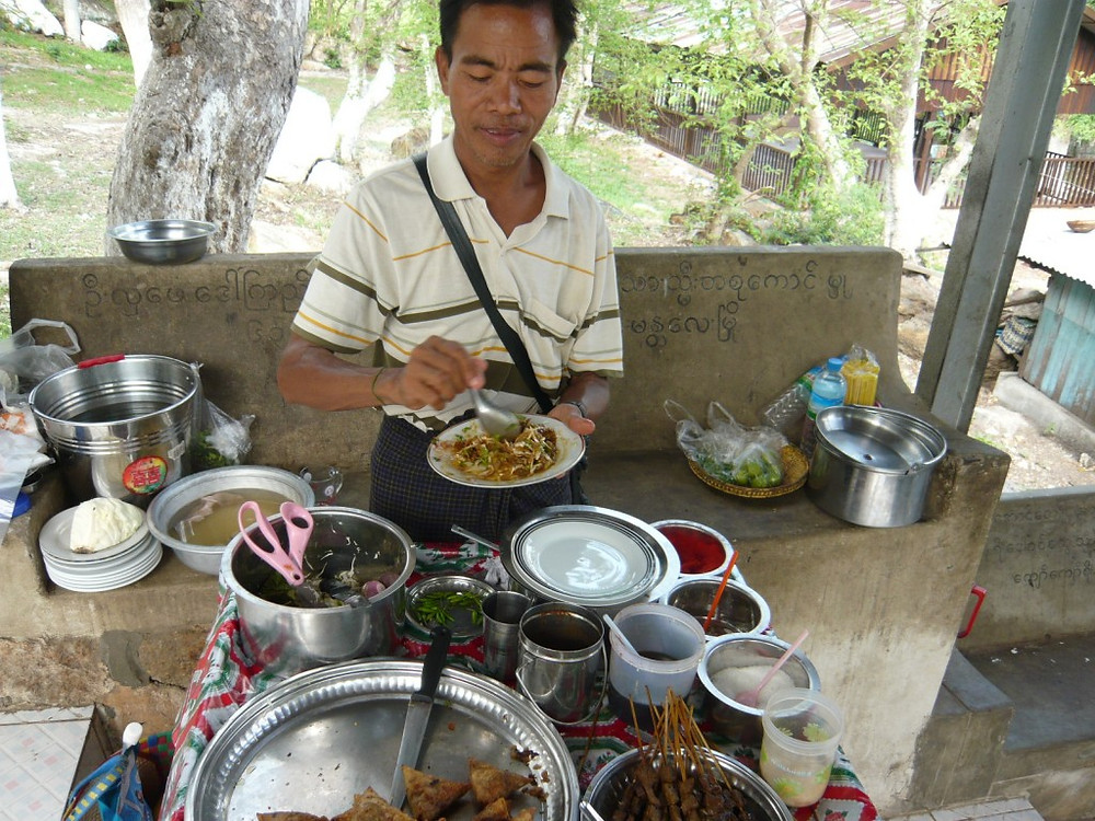 Street food vendor on the stairs to Mandalay Hill