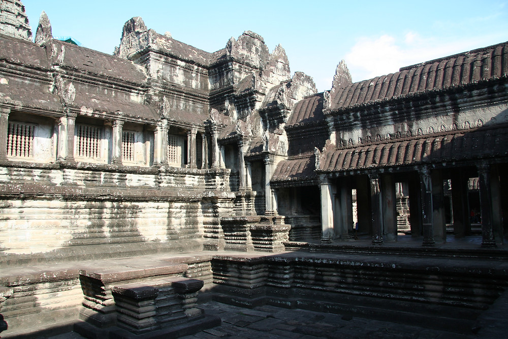 The temple at Angkor Wat in the mid-day sun